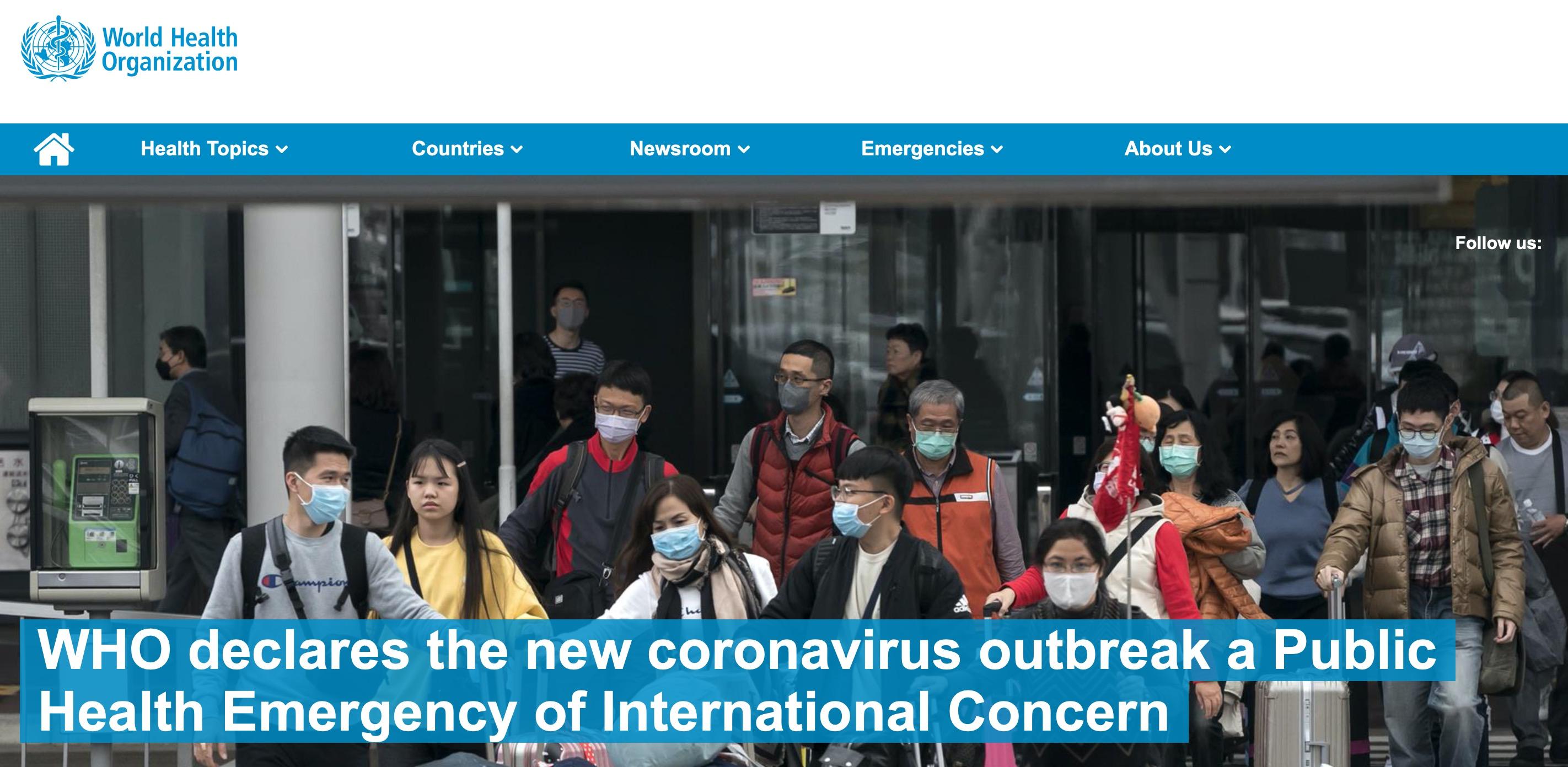 اعلام وضعیت فوقالعاده بینالمللی در پی شیوه سریع ویروس کرونا
