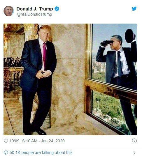 طعنه اینستاگرامی ترامپ به اوباما