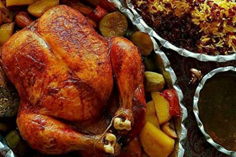 طرز تهیه مرغ شکمپر سنتی