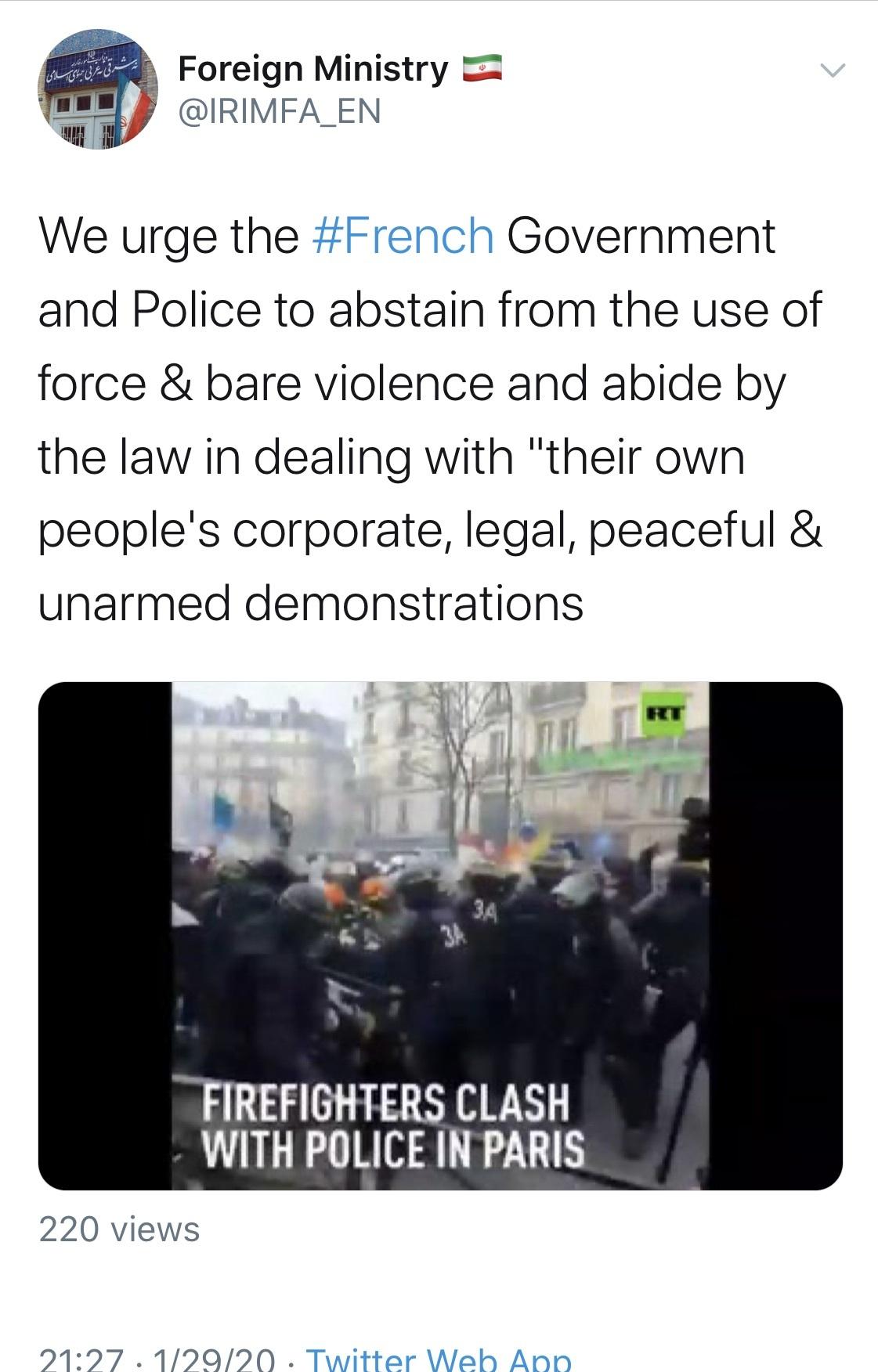 ایران پلیس فرانسه را به خودداری از خشونت فراخواند