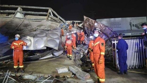 ساختمان یک هتل در جنوب شرقی چین فرو ریخت