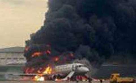 لحظات آتشسوزی هواپیمای روسی