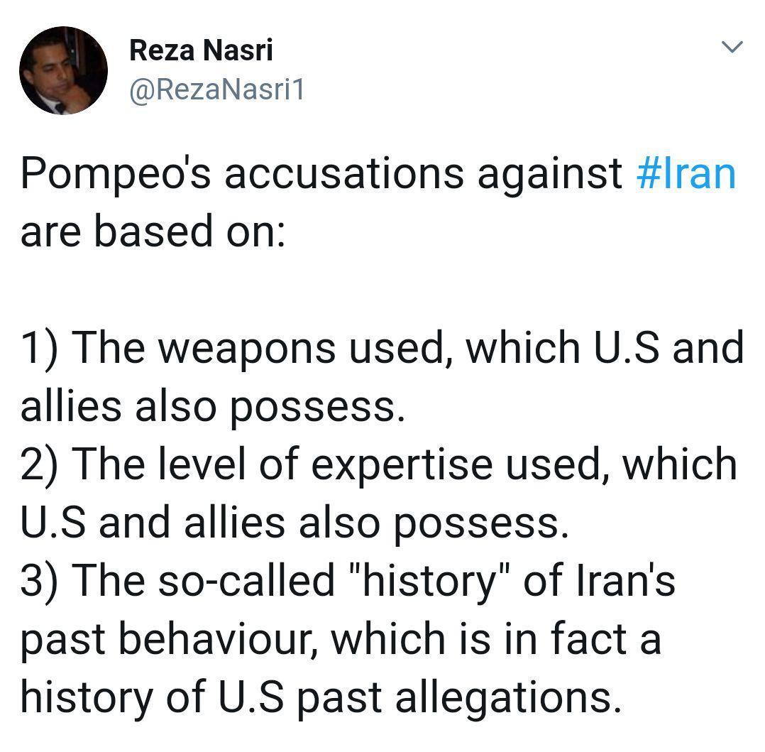 چرا فرضیات «پمپئو» برای متهم کردن ایران در حمله به نفتکش ها پذیرفته نشد؟