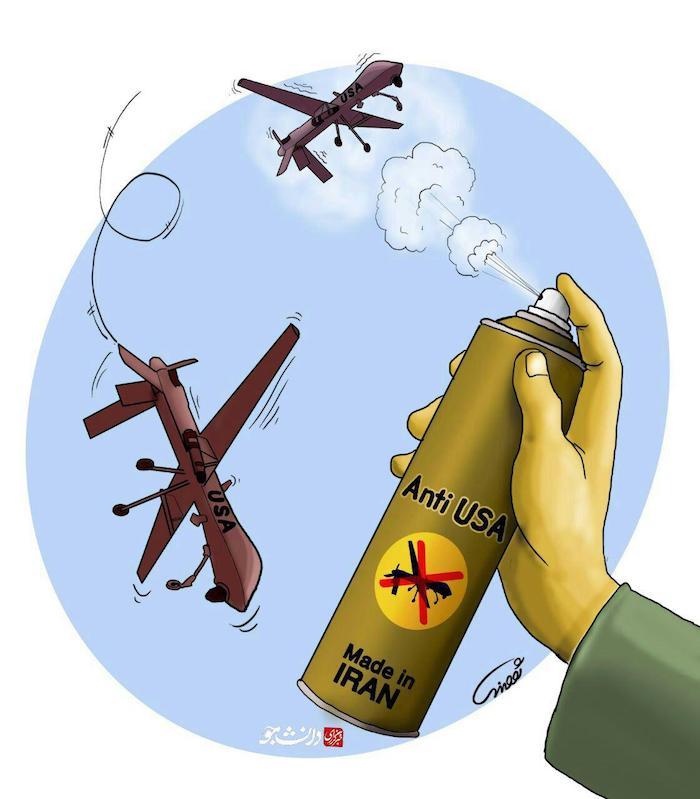 کاریکاتور: اقتدار سپاه در برابر پهبادهای آمریکا