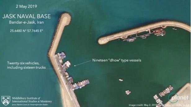 تصویر ماهواره ای مورد ادعای آمریکا از بندر جاسک / سند اغراق آمریکا در خصوص تهدید موشکی-قایقی ایران