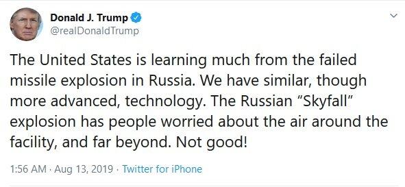 واکنش ترامپ به انفجار اخیر اتمی در روسیه