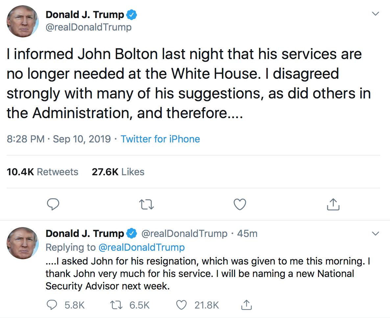 ترامپ «جان بولتون» را اخراج کرد
