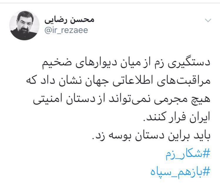 واکنش توییتری محسن رضایی به دستگیری «زم»