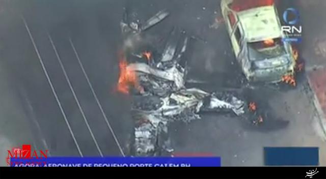 سقوط هواپیما روی خودروهای پارک شده در برزیل