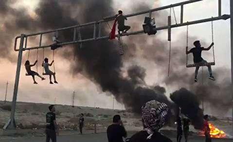 تاببازی عجیب در تظاهرات عراق