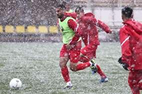 تصاویر جالب از تمرین امروز پرسپولیس زیر برف