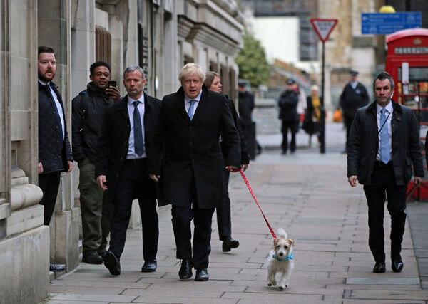 همراهی سگ بوریس جانسون با او در انتخابات انگلیس