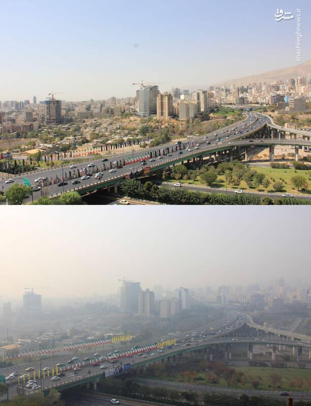تصویر تامل برانگیز از یک روز پاک و آلوده در تهران