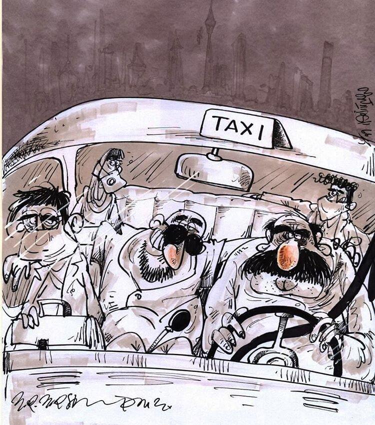 کاریکاتور: وضعیت تاکسیها پس از فاصلهگذاری اجتماعی!