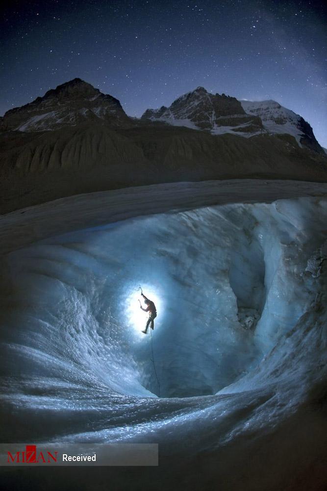 یخ نوردی هیجان انگیز یک کوهنورد