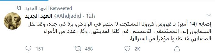 ۱۴ شاهزاده سعودی به کرونا مبتلا شده اند