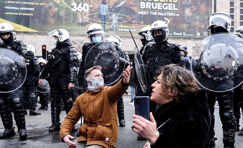 تظاهرات بلژیکیها علیه قرنطینه
