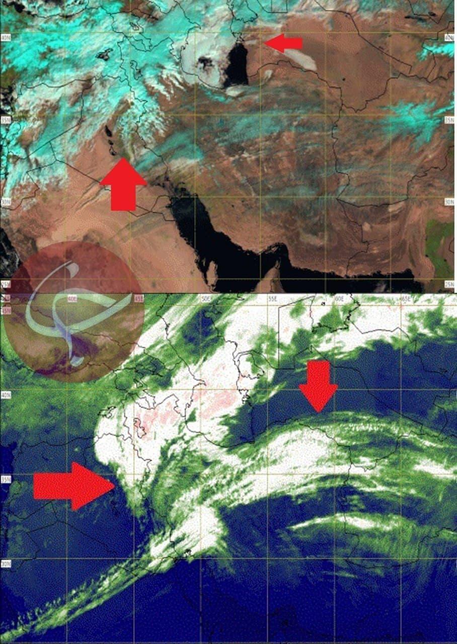 تصاویر ماهواره ای از حرکت جبهه بارشی در آسمان کشور