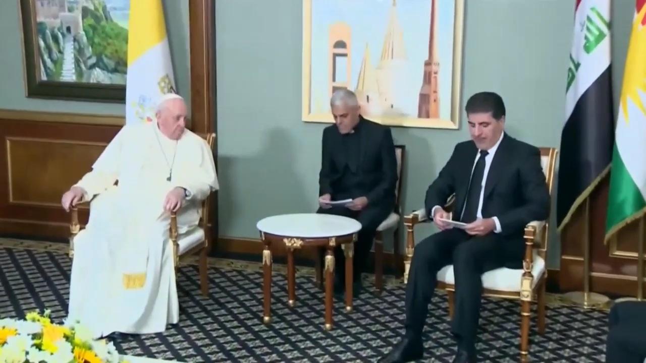العراق | بابا الفاتيكان يلتقي رئيس حكومة إقليم كردستان في أربيل