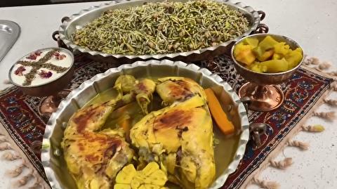 طرز تهیه لوبیا پلو با مرغ زعفرانی