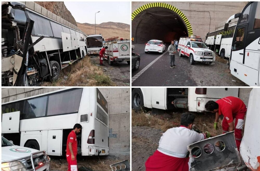 تصادف زنجیرهای ۲ اتوبوس و ۴ سواری در منجیل
