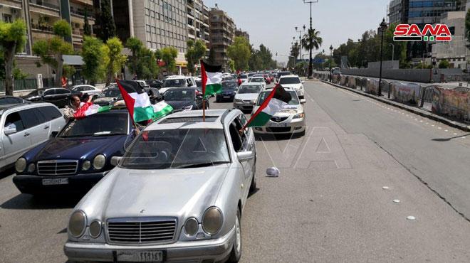 راهپیمایی ماشینی روز قدس در دمشق