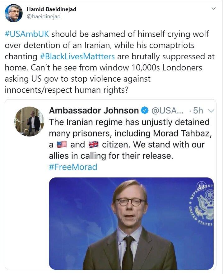 پاسخ بعیدینژاد به سفیر آمریکا