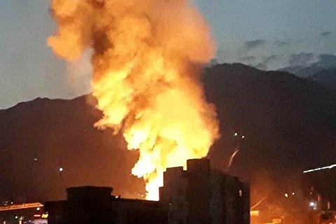 لحظات انفجار یک مرکز درمانی در شمال تهران
