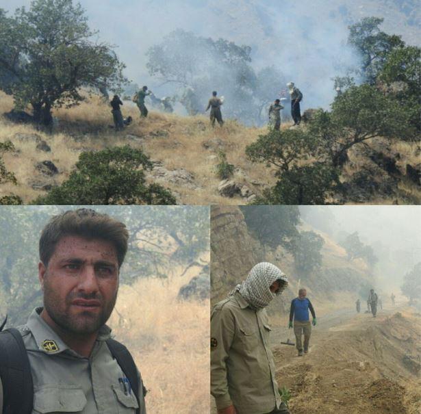 غلبه محیطبانان کرمانشاهی بر مین و آتش