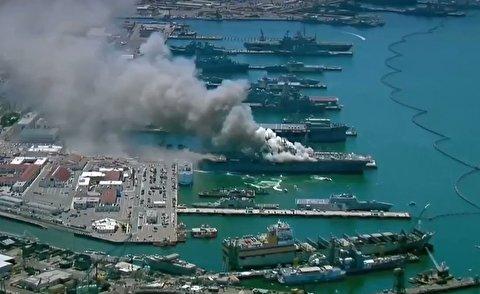آتش سوزی عظیم در ناو جنگی آمریکا