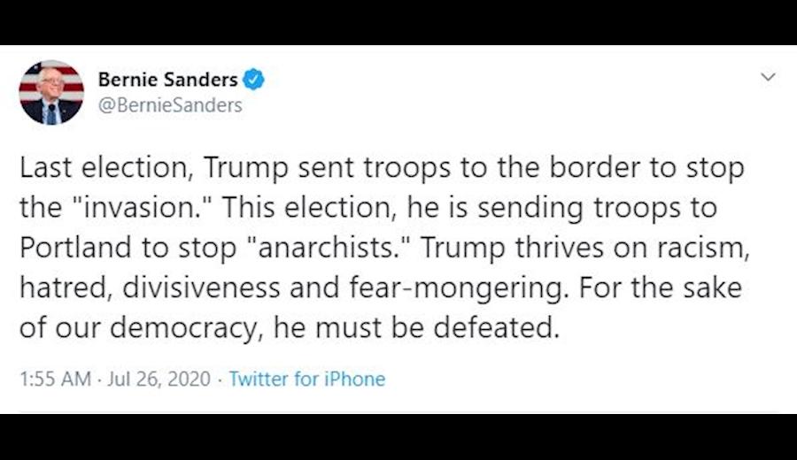 سندرز: ترامپ باید در انتخابات شکست بخورد