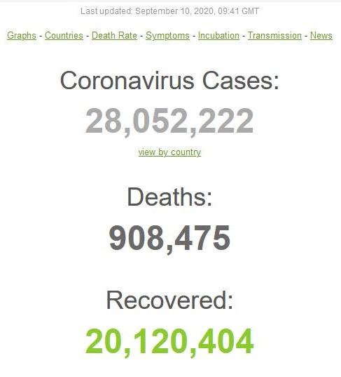 عبور مبتلایان به کووید-۱۹ در جهان از مرز 28 میلیون تن/ صعود پرسرعت «هند» در آمارها
