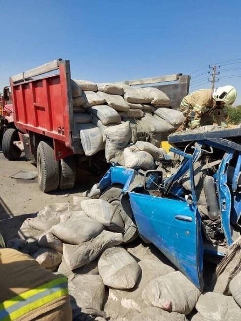 دو کشته در اتاقک ویران شده خودروی نیسان