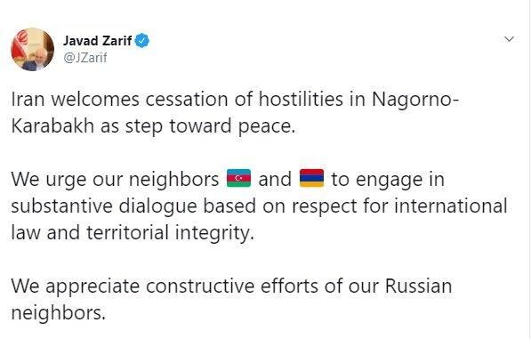 واکنش ظریف به برقراری آتشبس در قرهباغ