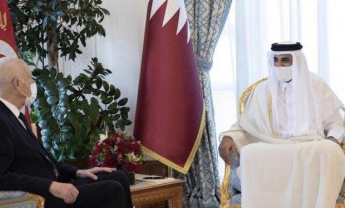 رئیس جمهوری تونس با امیر قطر در دوحه دیدار کرد