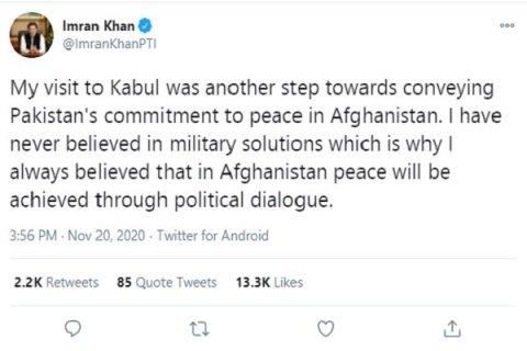 توضیح عمران خان درباره سفرش به افغانستان