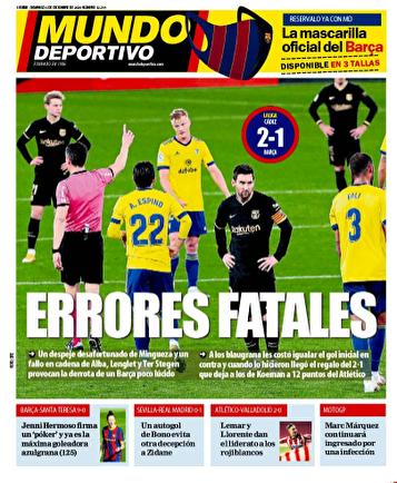 جلد روزنامههای اروپا؛ خودکشی بارسلونا