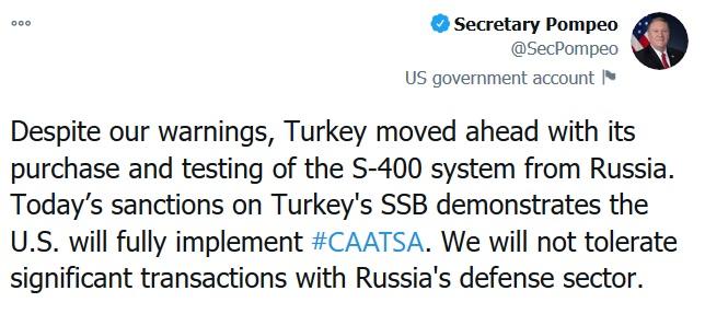 پمپئو: ترکیه به علت خرید سامانه اس-۴۰۰ تحریم شد