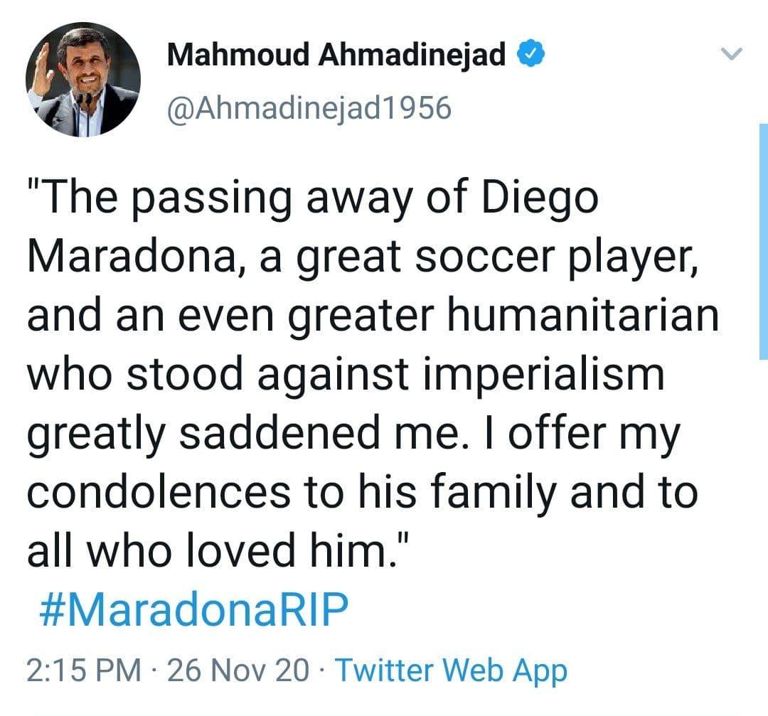 توییت احساسی احمدینژاد برای مارادونا