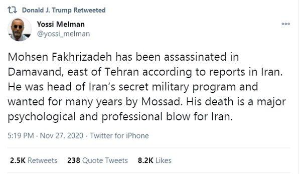 واکنش های گسترده بین المللی به ترور شهید محسن فخری زاده