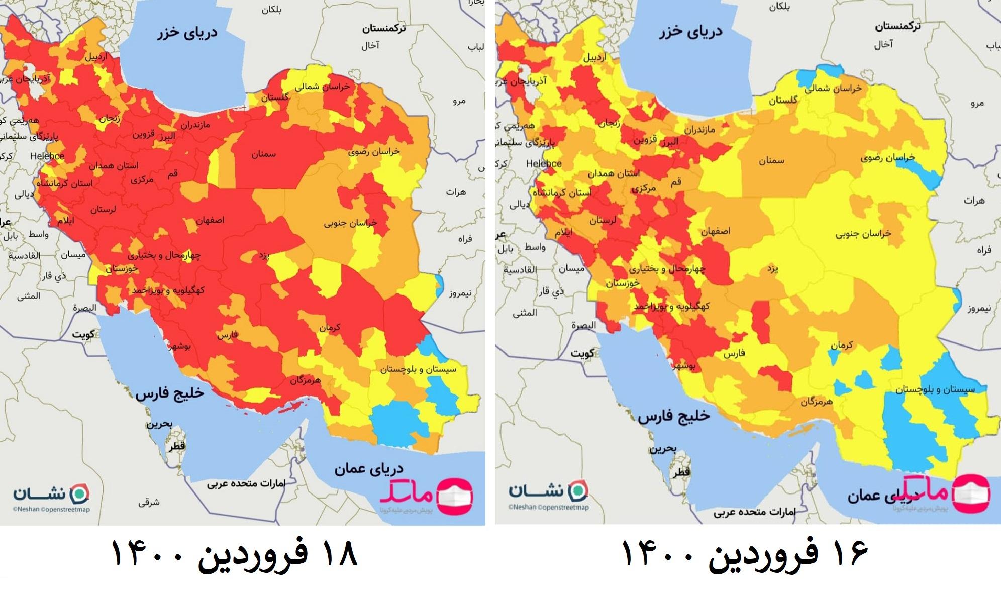 جهش شهرهای قرمز از ۸۸ به ۲۵۷ شهر؛ نقشه رنگ بندی کرونایی «قرمز» شد!