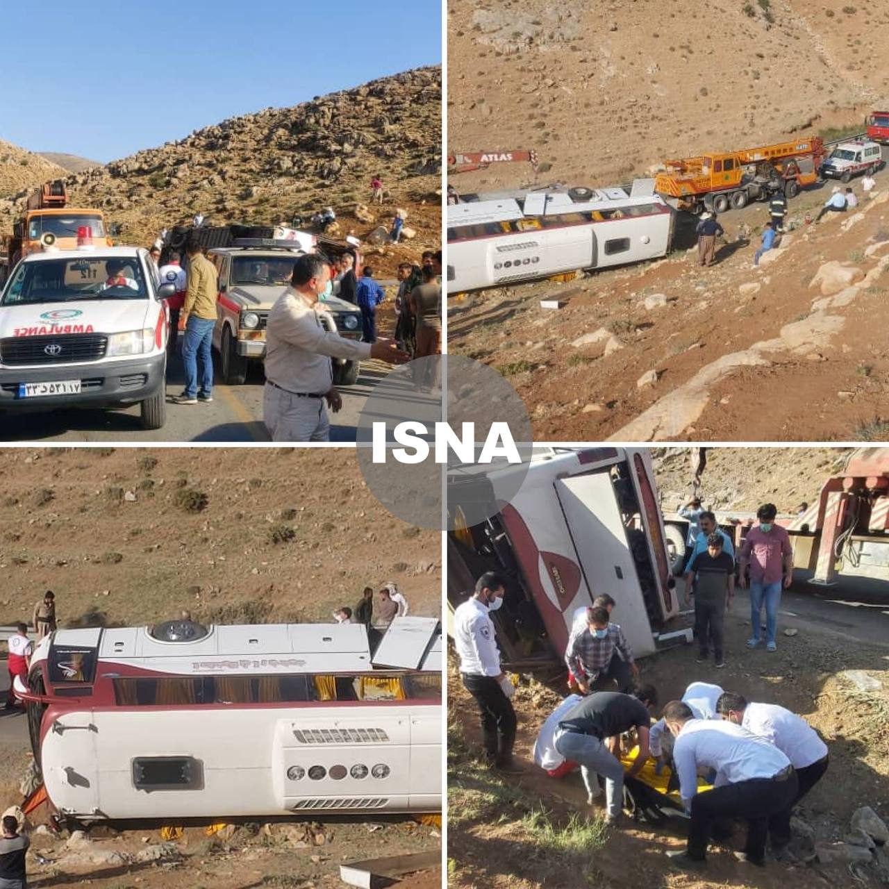 واژگونی مرگبار اتوبوس خبرنگاران در نقده