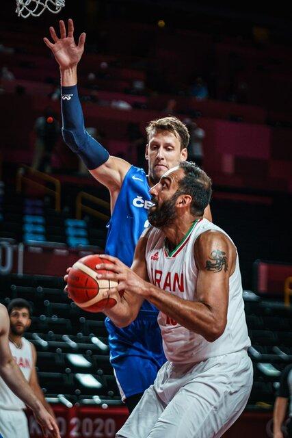 شکست سنگین بسکتبال ایران از چک در نیمه اول