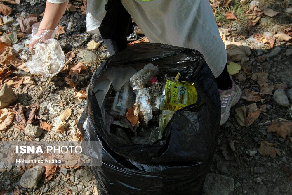 جمع آوری زبالههای رها شده در جنگل «توسکستان»