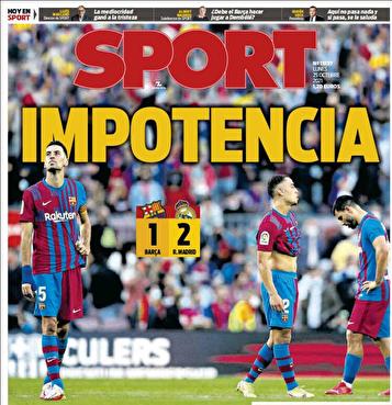 جلد روزنامه های اسپانیا بعداز باخت بارسا به رئال