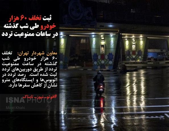 معاون شهردار تهران:  تخلف ٦٠ هزار خودرو طی شب گذشته در ساعت ممنوعیت تردد از طریق دوربینهای تردد ثبت شده است.  رصد تردد در اتوبوسها و ایستگاههای مترو نشان از کاهش سفرها دارد.