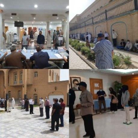 صف رای ایرانیان مقیم کویت در گرمای شدید هوا
