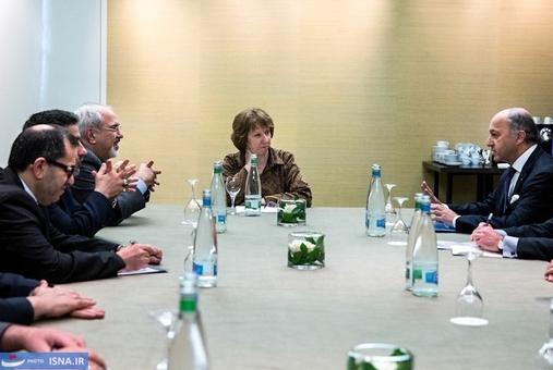 دیدار سه جانبه ظریف و اشتون با وزیر امور خارجه فرانسه در روز سوم مذاکرات