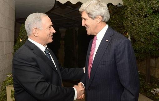 جان کری، وزیر خارجه آمریکا در آغاز دهمین دور سفرش به خاورمیانه با بنیامین نتانیاهو، نخست وزیر رژیم صهیونیستی دیدار و گفتوگو کرد-xinhua
