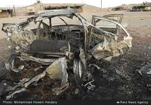 خودروی منهدم شده بر اثر انفجار TNT